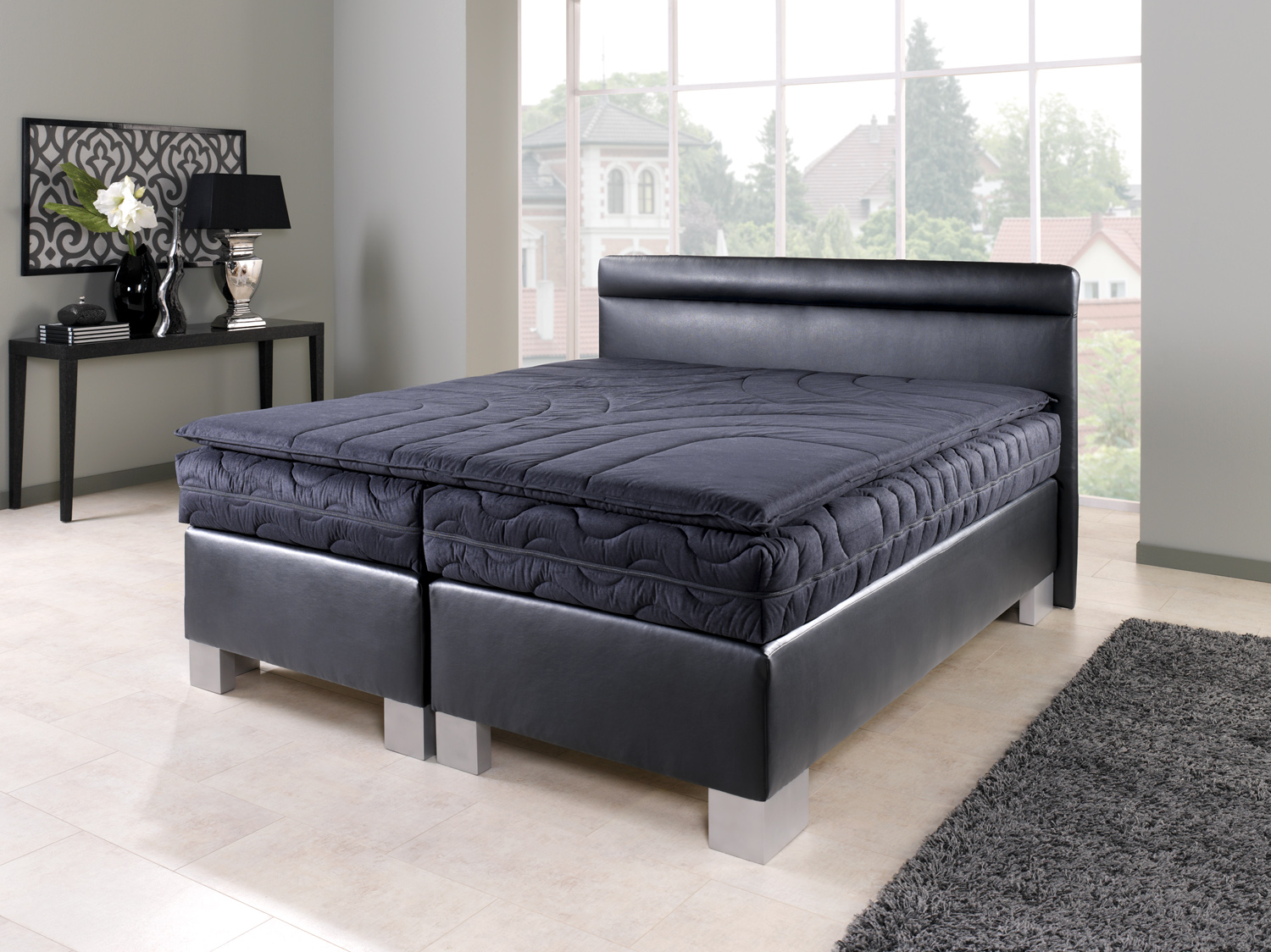 boxspringbett texas 100 120 140 160 180 200 cm x 200 cm ebay. Black Bedroom Furniture Sets. Home Design Ideas
